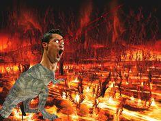 Uno de mis montajes. #cristianoronaldo #cristiano #ronaldo #dinosaurio #infierno #laser #meck