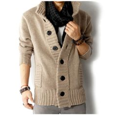 Fashion Mens Casual Cardigan Knitted Thicken Turtleneck Sweater at Banggood