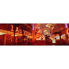 Fremont Street Experience Las Vegas NV USA Canvas Art - Panoramic Images (36 x 12)