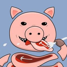 I've been drawing this self eating pig #MyRBWIP