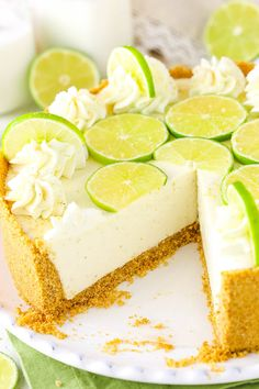 This No Bake Key Lime Cheesecake is full of key lime flavor and so light and creamy! An easy no bake dessert that's perfect for hot weather. desserts no bake No Bake Key Lime Cheesecake Easy No Bake Desserts, Just Desserts, Delicious Desserts, Dessert Recipes, Key Lime Desserts, Easy Summer Desserts, No Bake Key Lime Cheesecake Recipe, Easy Key Lime Pie Recipe No Bake, Lemon And Lime Cheesecake