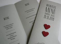Menükarte Hochzeit grau / Wedding Menue Card grey