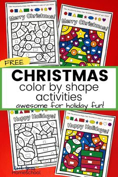 Your kids will have amazing holiday fun with these free Christmas color by shape activities. Fantastic for simple, print-and-go holiday fun! #christmascoloring #christmascoloringactivities