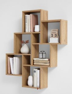 "Wall shelf ""Lotta I"" - in oak NB- Wandregal ""Lotta I""- in Eiche NB Wall shelf ""Lotta I"" Made in Germany with 6 large and 2 small compartments in oak imitation - Home Decor Shelves, Wall Shelf Decor, Diy Home Decor, Diy Bookshelf Design, Wall Shelves Design, Diy Bookshelf Wall, Bookshelf Ideas, Cube Shelves, Wooden Shelves"