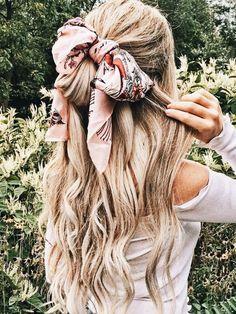 half up hairstyle with waves + bandana