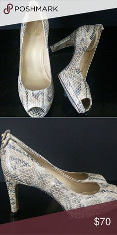 e3e4e4eb34aa STUART WEITZMAN Snake Print Leather Peep Toe Pumps STUART WEITZMAN Snake  Print Leather Peep Toe Pumps