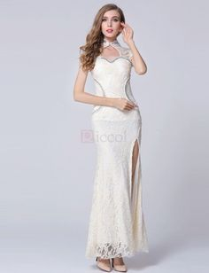 ❀ Champagne Hollow Out Lace Mermaid Party Dress | Riccol ❤