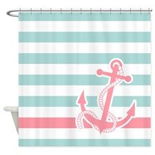 Nautical Anchor Stripe Blue Pink Shower Curtain for