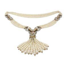 Cartier  A Rock Crystal, Cultured Pearl and Diamond Sautoir, circa 1985