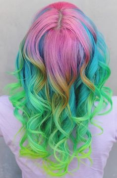 Multicolored neon hair.