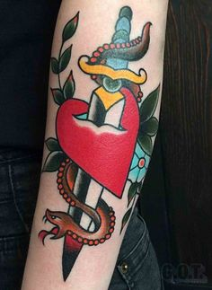 Traditional - Heart - Snake - Dagger - Tattoo swen losinsky berlin, germany www.goodoldtimestattoo.com