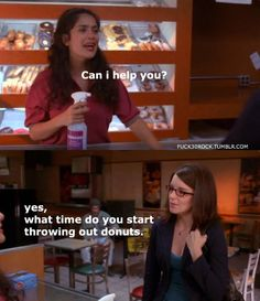 """Liz Lemon 30 Rock """"What time do you start throwing out donuts? 30 Rock Quotes, Tv Quotes, Lemon Quotes, Liz Lemon, Comedy Show, Comedy Movies, Tina Fey, How To Eat Better, How I Met Your Mother"""