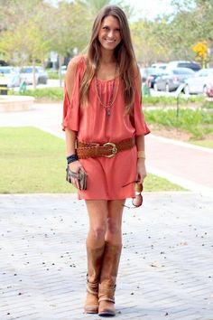 Glam Rust Split Shoulder Dress