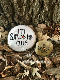 Painted Rock Christmas I'm Snow Cute (snow decorations friends)