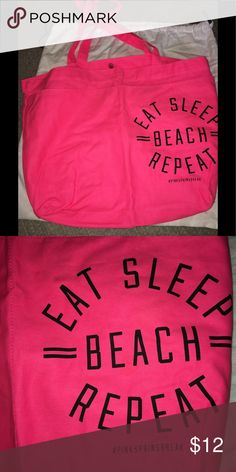 Victoria secret PINK beach bag PINK beach bag. New without tags. Eat beach sleep repeat. Neon pink. Bags