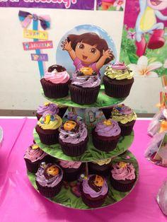 Dora theme Red Velvet and Chocolate Oreo cupcakes