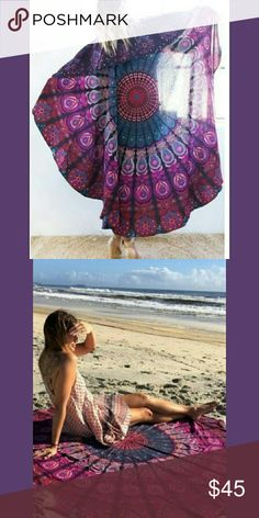 Circle Mandala Tapestry 🌌⭐ Pink! Purple! Fushia! Blue! Aqua! Sky blue! Pastel Pink!  Red! More colors! 🌈🌌🔱💥💫⭐🌠💕  Water Resistant - Translucent Beach Towel OR! Cute lil cover up Accessories