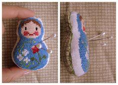 DIY Matryoshka Pin Cushion Tutorial with link to free pattern Cross Stitching, Cross Stitch Embroidery, Cross Stitch Designs, Cross Stitch Patterns, Blackwork, Sewing Crafts, Sewing Projects, Creative Textiles, Matryoshka Doll