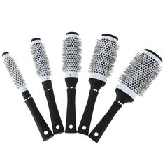 5 Sizes Black Durable Ceramic Ionic Round Comb Barber Hair Dressing Salon Styling Tools Brushes Barrel Hairbrush Hair Combs Tool