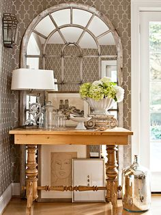 Entryway Style    Isn't this cool? Love it. So fresh and bright. Would look nice in other colors too.