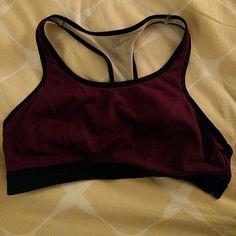 Aerie medium impact sports bra, size M Black and purple sports bra, gently used. Inside label has worn away. aerie Intimates & Sleepwear Bras