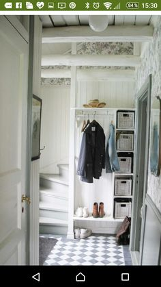 Hallway Storage, Storage Spaces, Cottage Shabby Chic, Entry Hallway, Entryway, Compact Living, House Entrance, Transitional Decor, My Dream Home