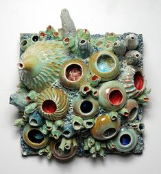 "Diane Lublinski, Artist, ceramic coral reef wall hanging, 6"" deep x 10"" x 11"""