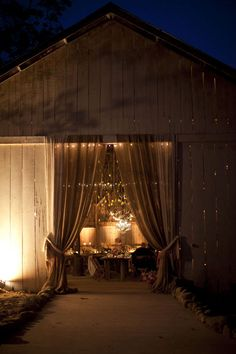 barn wedding at night..... this will be it!!! I can't wait for the big day!! <3