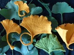large felt ginkgo leaves--crazy for these!