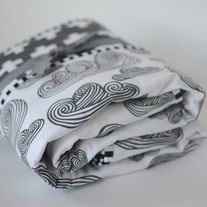 swirled clouds and charcoal plus quilt