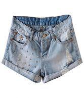 Light Blue Rivet Turn Up Wash Denim Shorts $23.93