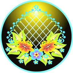 Orange, Yellow, Blue & Lavender Flowers in a Teal Fan - Etched Vinyl Stained Glass Film, Static Cling Window Decal