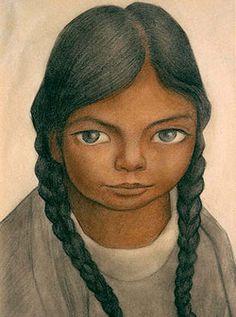 Diego Rivera (1886 - 1957)  Retrato de la niña Juanita Rosas, 1934  Lapiz y tinta sobre Papel  (Pencil and Ink on Paper)