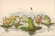 Frog band by G. Frosch Illustration, Illustration Art, Vintage Cards, Vintage Postcards, Frog Pictures, Funny Frogs, Frog Art, Frog And Toad, Mundo Animal