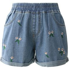 Chicwish Cheering Daisy Embroidered Denim Shorts