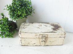 Chippy White Industrial Metal Storage Box by bigfishlilpond, $20.00