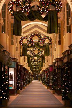 Christmas in England / Burlington Arcade during Christmas, London Christmas In England, Christmas In The City, Magical Christmas, Noel Christmas, All Things Christmas, White Christmas, London Christmas Lights, Xmas, Christmas Swags
