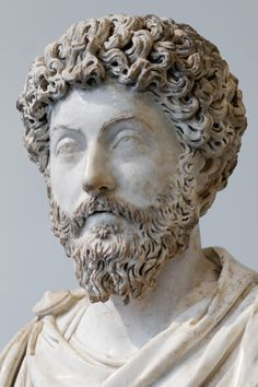 Roman Emperor Marcus Aurelius (r. 161-180 CE).  Artist unknown.  Found at Acqua Traversa, Italy; now in the Louvre.  Photo credit: Marie-Lan Nguyen.  The Lion of Chaeronea