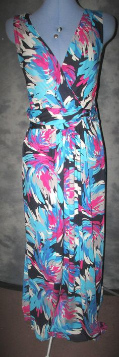 Ann Harvey,ladies,size 16-18,multi v neck,sleeveless,long length,,Formal,Dress.