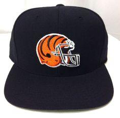 New Mitchell&Ness CINCINNATI BENGALS SNAPBACK HAT Black/Orange Helmet Logo MENS #MitchellNess #CincinnatiBengals