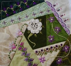 purple crazy quilt, beautiful variegated straight stitch design lower middle