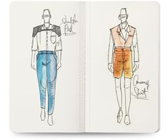 A set of 3 sketchbooks containing a tiny fashion dictionary and mens figure templates for fast sketching. Tailor-made menswear designers.