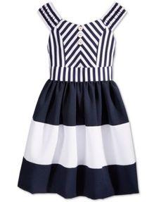 Bonnie Jean Girls' Striped Colorblocked Sailor Dress