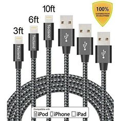 3 Pack 3 6 10 Ft Lightning Cable Iphone 7 6 5 Charger Heavy Duty Charging Cord #Tecland