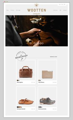 Website Home Page Design {love the little elements & simplicity of site} // Wootten (Cordwainer and Leather Craftsmen)