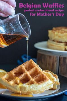 Crispy and Fluffy Belgian Waffles are so easy! Perfect for Mother's Day or any holiday brunch because the dough is made the day before! #brunch #breakfast #mothersdayrecipes #kitchenaid_golf @kitchenaid_golf #binkysculinarycarnival #belgianwafflerecipe #belgianwafflerecipeeasy#homemadebelgianwaffles #belgianwafflescrispy