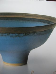 Blue bowl with golden rim, Stoneware, vivid blue and manganese glazes. diam: 20.6cm, 1986