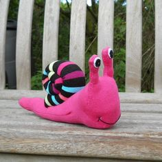 Sock snail, sock animal, stuffed toy, soft sculpture, Shelley. $20.00, via Etsy.