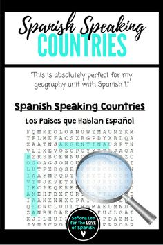 Where in the world is Spanish spoken? Many students can name Spain and Mexico but can they name all 21 countries? Find 21 Spanish speaking countries in a challenging word search. Fun activity for first year Spanish students or a great review for an intermediate student.