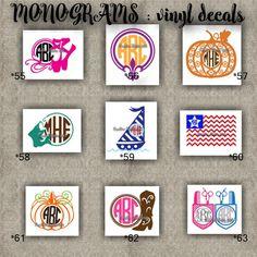 MONOGRAM vinyl decals | name | initial | decal | sticker | car decals | car stickers | laptop sticker - 55-63
